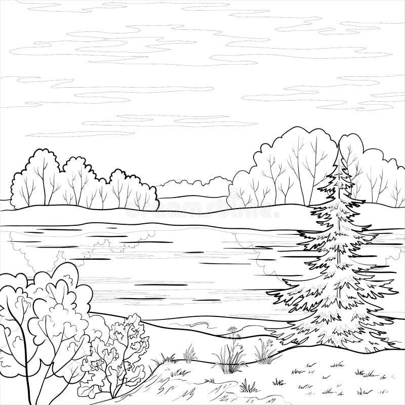 Τοπίο Δασικός ποταμός, περίληψη διανυσματική απεικόνιση