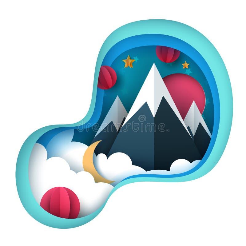 Τοπίο εγγράφου κινούμενων σχεδίων Βουνό, ήλιος, αστέρι, σύννεφο απεικόνιση αποθεμάτων