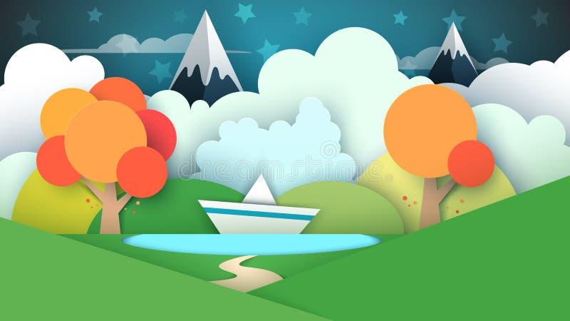Τοπίο εγγράφου κινούμενων σχεδίων Λίμνη, σκάφος, βουνό διανυσματική απεικόνιση