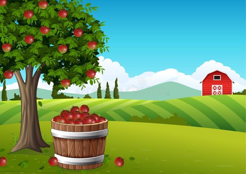 Τοπίο επαρχίας με το δέντρο μηλιάς ελεύθερη απεικόνιση δικαιώματος