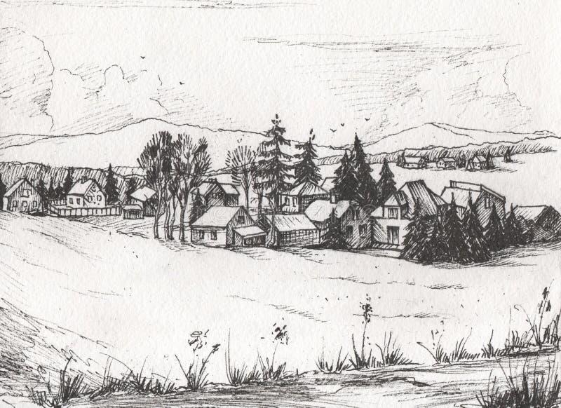 Τοπίο επαρχίας, συρμένο χέρι σκίτσο απεικόνισης απεικόνιση αποθεμάτων