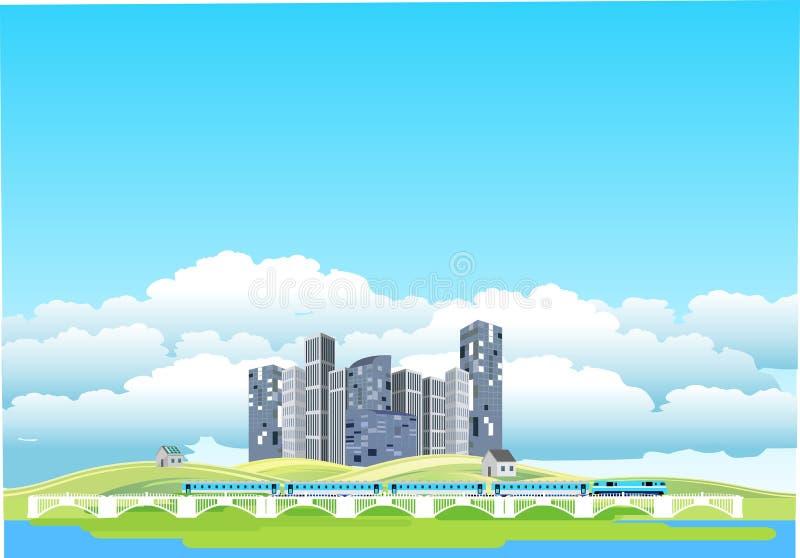Τοπίο επαρχίας, ecocity, τραίνο στη γέφυρα, στοκ εικόνες