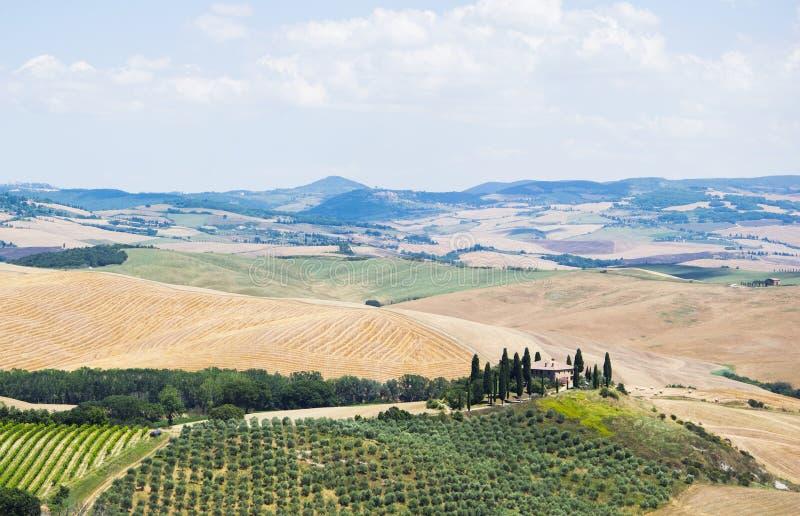 Τοπίο επαρχίας, SAN Quirico d& x27 Orcia, Τοσκάνη, Ιταλία στοκ φωτογραφία με δικαίωμα ελεύθερης χρήσης
