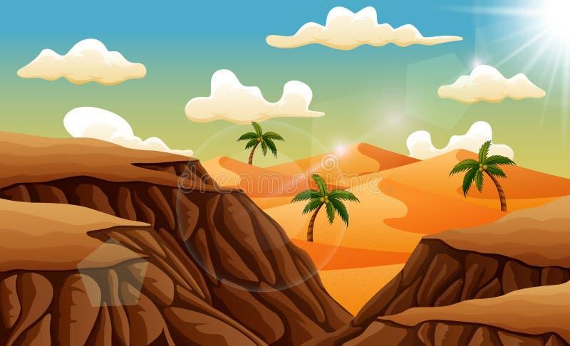Τοπίο ερήμων άμμου άνωθεν οι βράχοι διανυσματική απεικόνιση