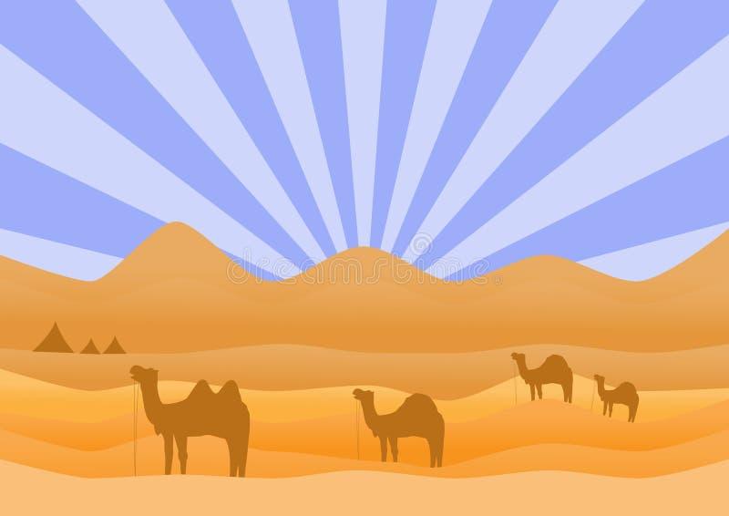 Τοπίο ερήμων με την καμήλα, διανυσματικές απεικονίσεις απεικόνιση αποθεμάτων