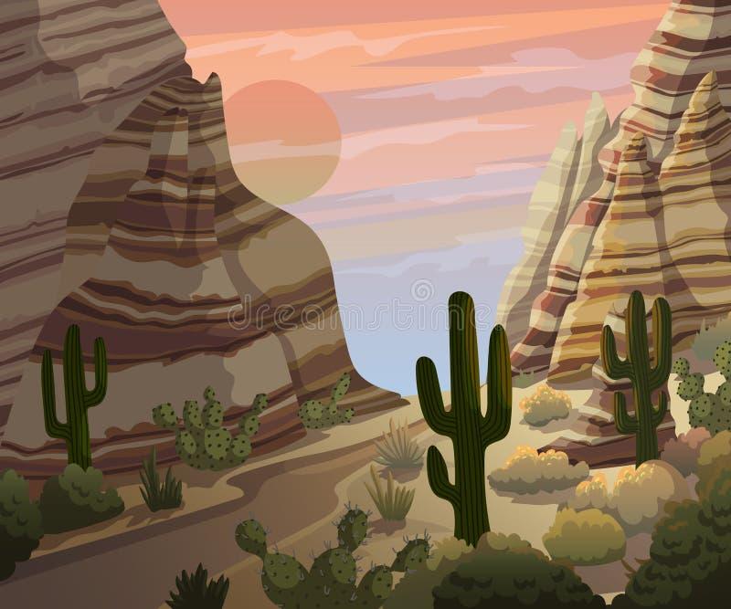 Τοπίο ερήμων με τους κάκτους και τα βουνά Υπόβαθρο τοπίου ηλιοβασιλέματος ή ανατολής διανυσματική απεικόνιση