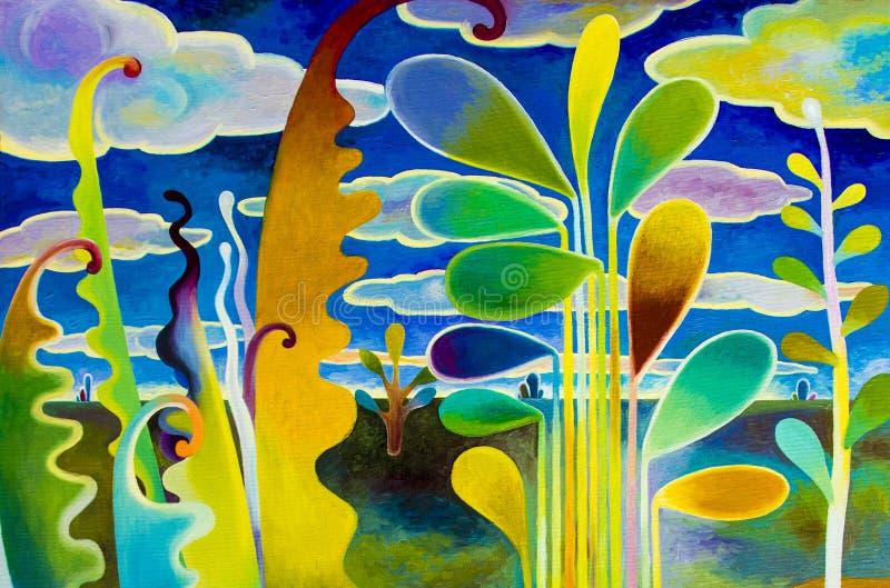 Τοπίο ελαιογραφίας στον καμβά ζωηρόχρωμο της αφηρημένης άποψης κήπων απεικόνιση αποθεμάτων