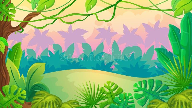 Τοπίο ζουγκλών ηλιοβασιλέματος διασκέδασης ελεύθερη απεικόνιση δικαιώματος