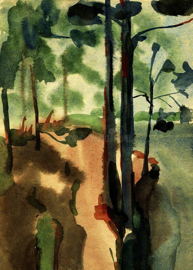 Τοπίο ζωγραφικής Watercolor απεικόνιση αποθεμάτων