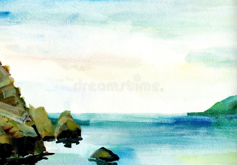 Τοπίο θάλασσας, παραλία, παραλία, βουνά, βράχοι Όμορφη απεικόνιση ζωγραφικής χεριών watercolor διανυσματική απεικόνιση