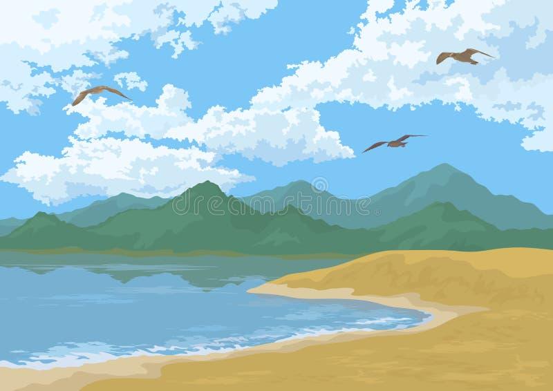 Τοπίο θάλασσας με τα βουνά και τα πουλιά διανυσματική απεικόνιση