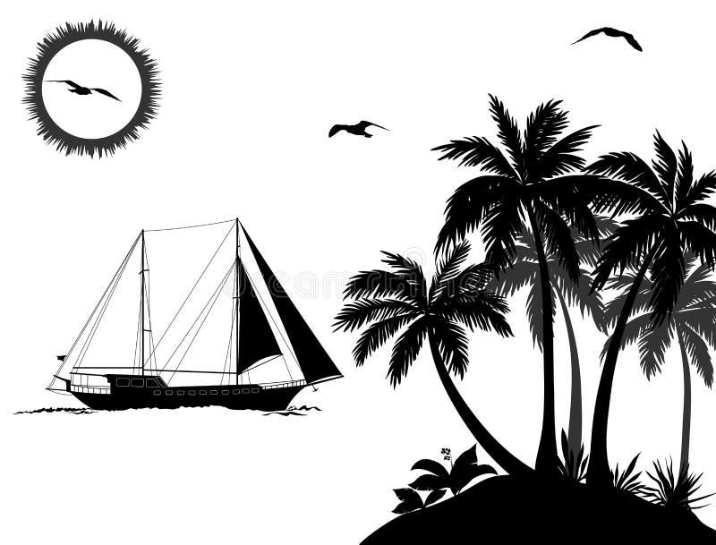 Τοπίο θάλασσας με τους φοίνικες και τις σκιαγραφίες σκαφών διανυσματική απεικόνιση