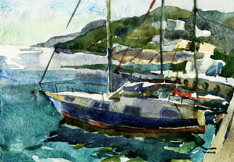 Τοπίο θάλασσας Yachtclub σε Yalta, Κριμαία απεικόνιση αποθεμάτων