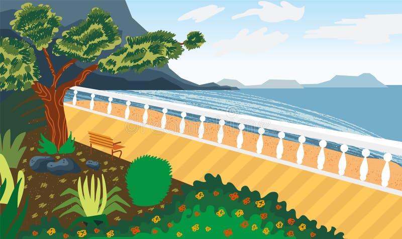 Τοπίο θαλασσίως Προκυμαία Μίμηση του watercolor ελεύθερη απεικόνιση δικαιώματος