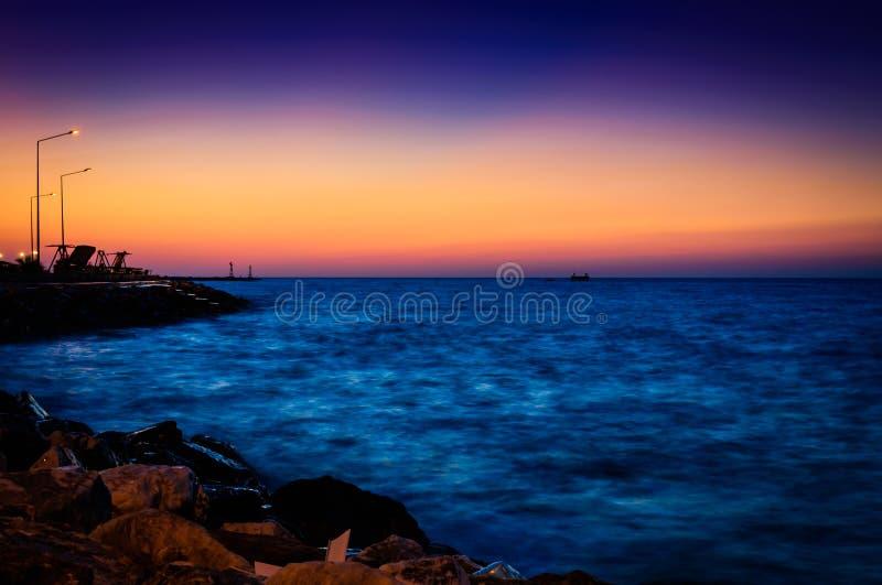 Τοπίο θερινού ωκεάνιο ηλιοβασιλέματος στοκ εικόνα με δικαίωμα ελεύθερης χρήσης