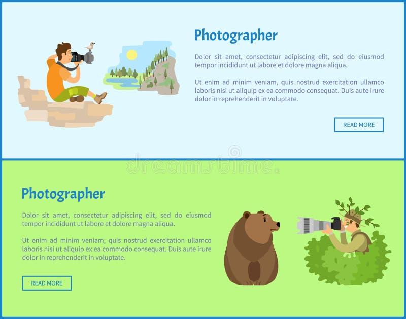 Τοπίο και ζωικά εμβλήματα Ιστού φωτογράφων απεικόνιση αποθεμάτων