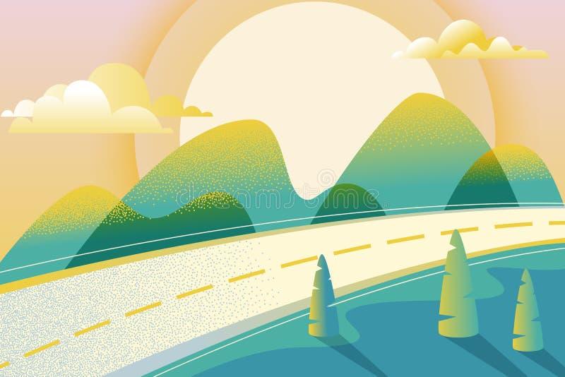 Τοπίο καλοκαιριού ή άνοιξης, διανυσματική απεικόνιση Δρόμος στην πράσινους κοιλάδα, τα βουνά, τους λόφους, τα δέντρα, τα σύννεφα  διανυσματική απεικόνιση
