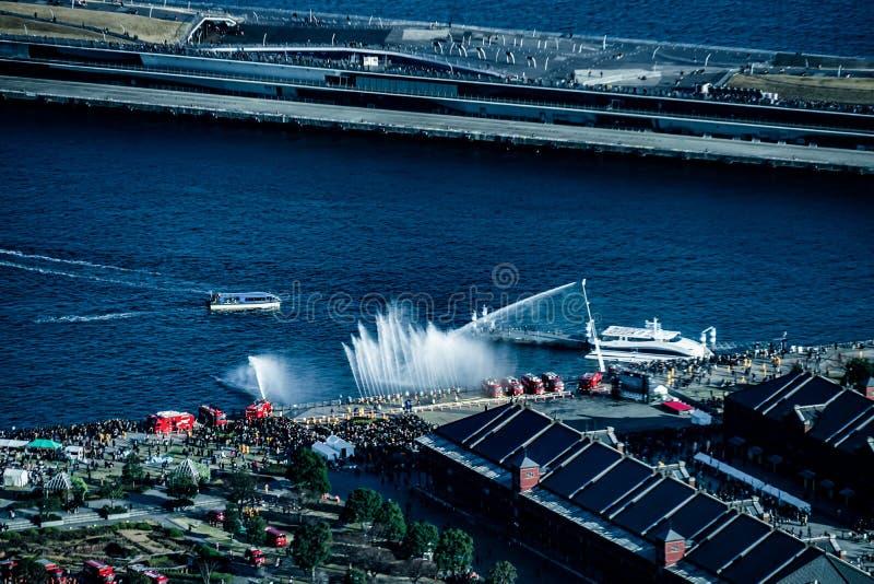 Τοπίο κατάρτισης στο νέο γεγονός πυροσβεστών έτους πυρκαγιάς Yokohama στοκ φωτογραφία με δικαίωμα ελεύθερης χρήσης