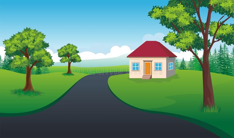 Τοπίο κινούμενων σχεδίων με το γλυκό σπίτι διανυσματική απεικόνιση