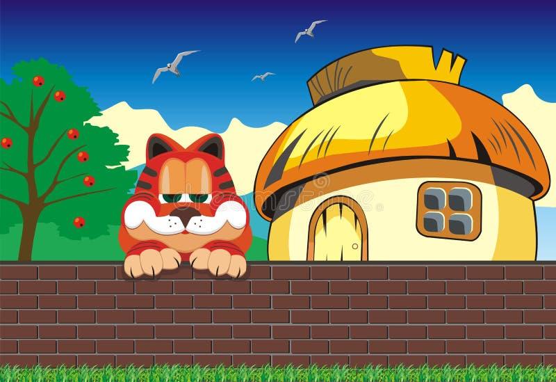 Τοπίο κινούμενων σχεδίων Γάτα στη φραγή Καλύβα έξω από το φράκτη απεικόνιση αποθεμάτων