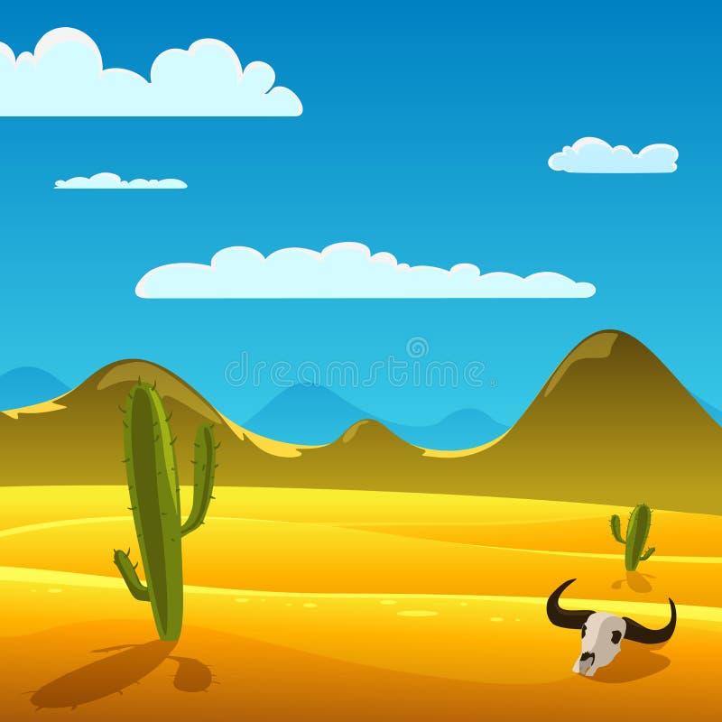 Τοπίο κινούμενων σχεδίων ερήμων ελεύθερη απεικόνιση δικαιώματος