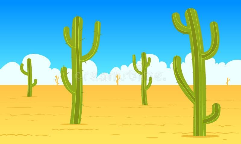 Τοπίο κινούμενων σχεδίων ερήμων διανυσματική απεικόνιση