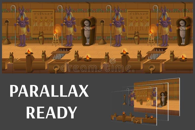 Τοπίο κινούμενων σχεδίων μέσα στον αιγυπτιακό τάφο, διανυσματικό ατελείωτο υπόβαθρο με τα χωρισμένα στρώματα ελεύθερη απεικόνιση δικαιώματος