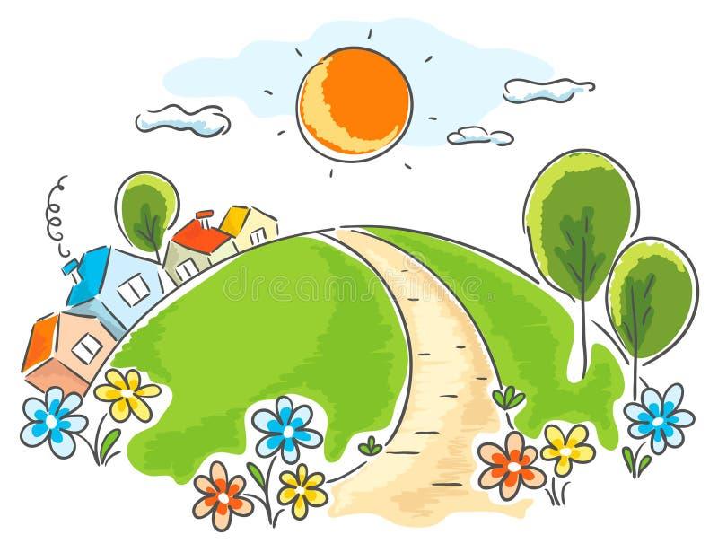Τοπίο κινούμενων σχεδίων με τα σπίτια, τα δέντρα και τα λουλούδια ελεύθερη απεικόνιση δικαιώματος