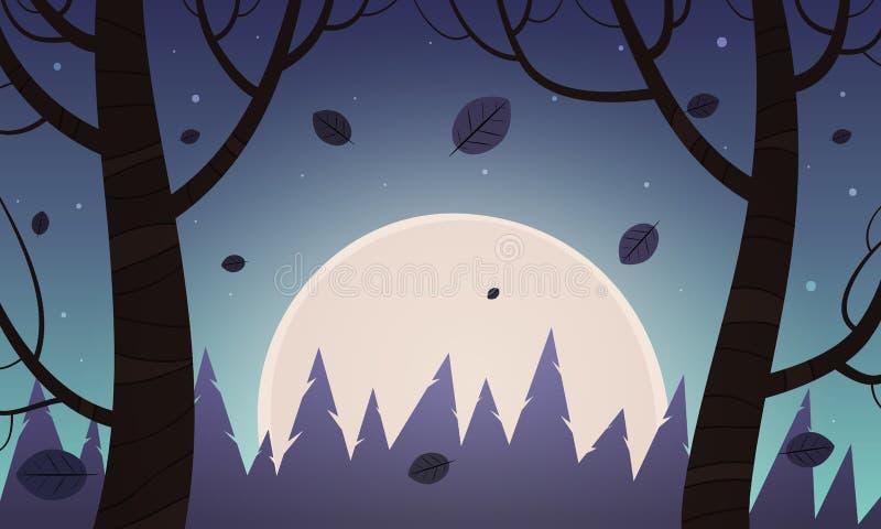 Τοπίο κινούμενων σχεδίων νύχτας ελεύθερη απεικόνιση δικαιώματος