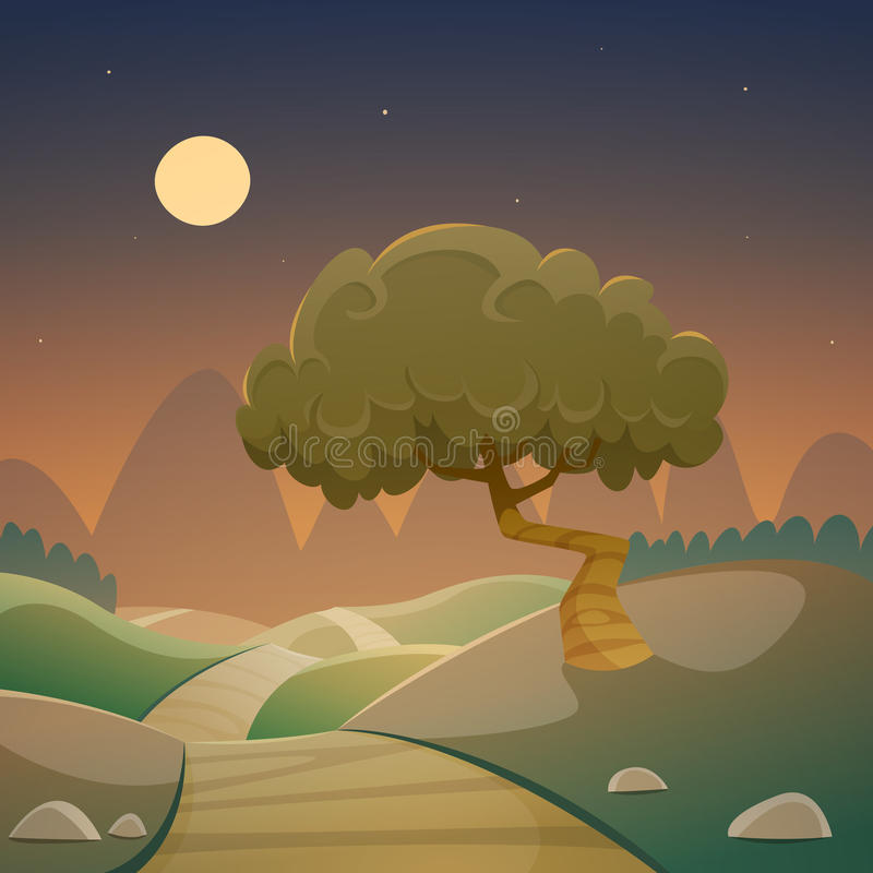 Τοπίο κινούμενων σχεδίων νύχτας διανυσματική απεικόνιση
