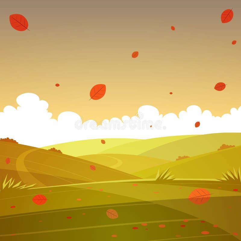 Τοπίο κινούμενων σχεδίων φθινοπώρου ελεύθερη απεικόνιση δικαιώματος