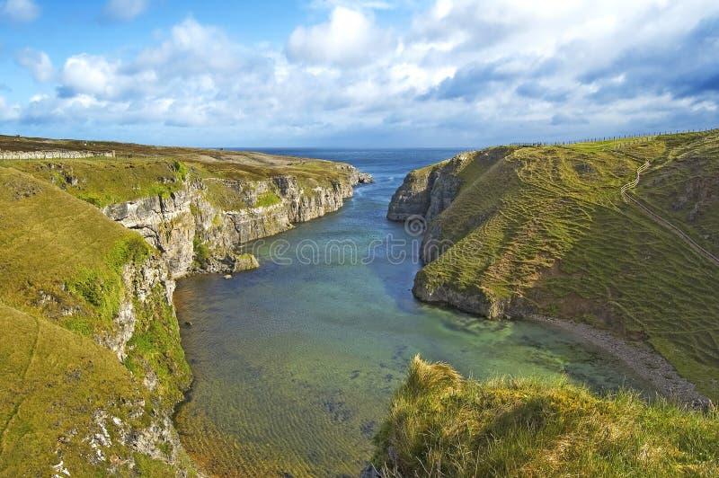 Τοπίο κόλπων σπηλιών Smoo σε Durness. Σκωτία στοκ εικόνα με δικαίωμα ελεύθερης χρήσης