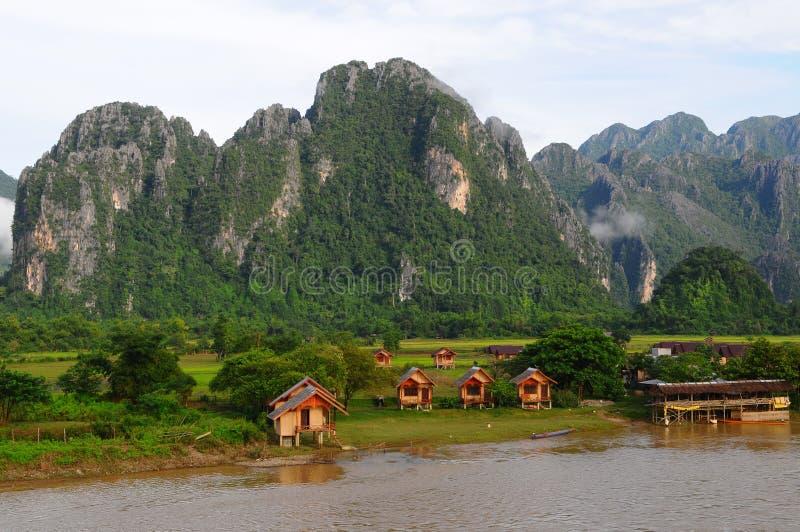 τοπίο Λάος vang vieng στοκ εικόνες
