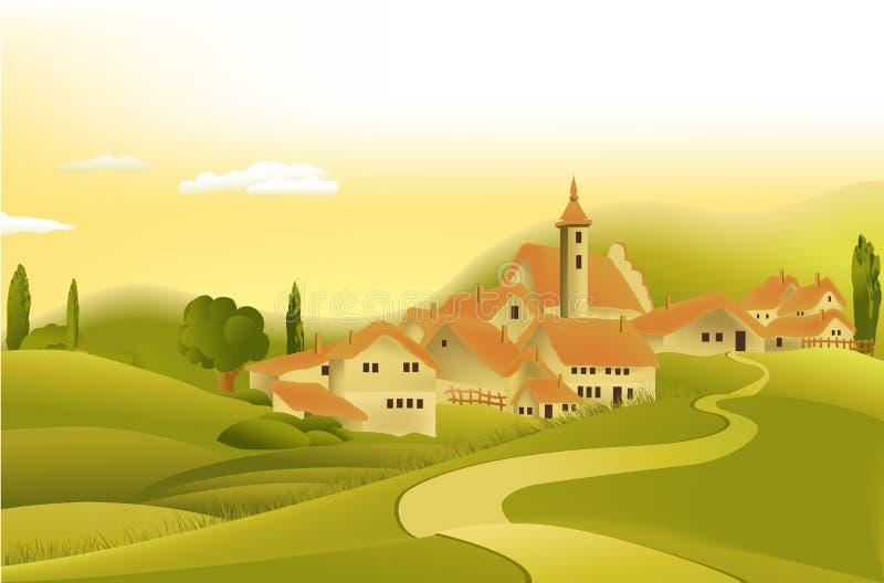 τοπίο λίγη αγροτική πόλη wiyh διανυσματική απεικόνιση