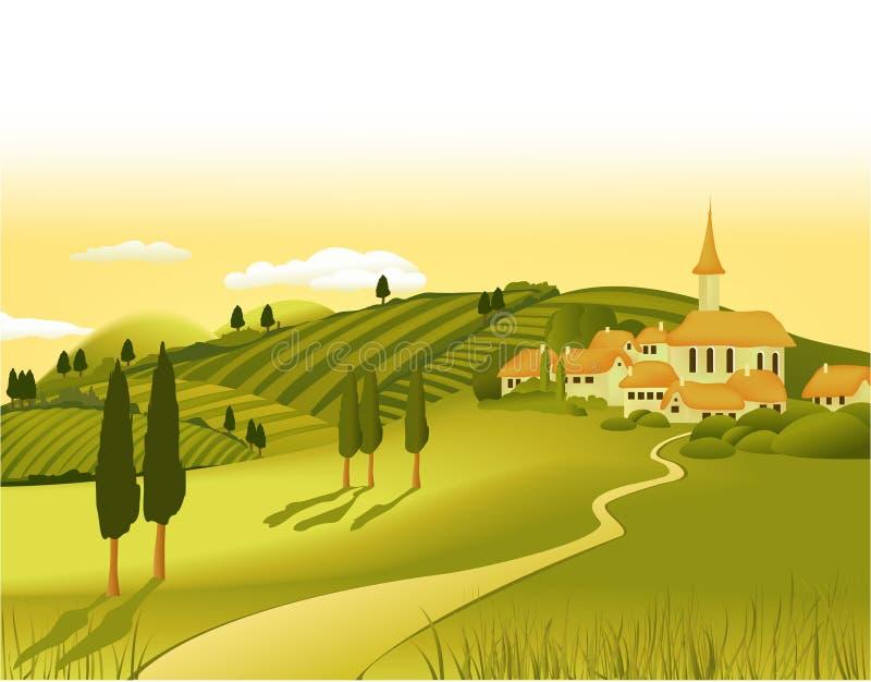 τοπίο λίγη αγροτική πόλη wiyh απεικόνιση αποθεμάτων