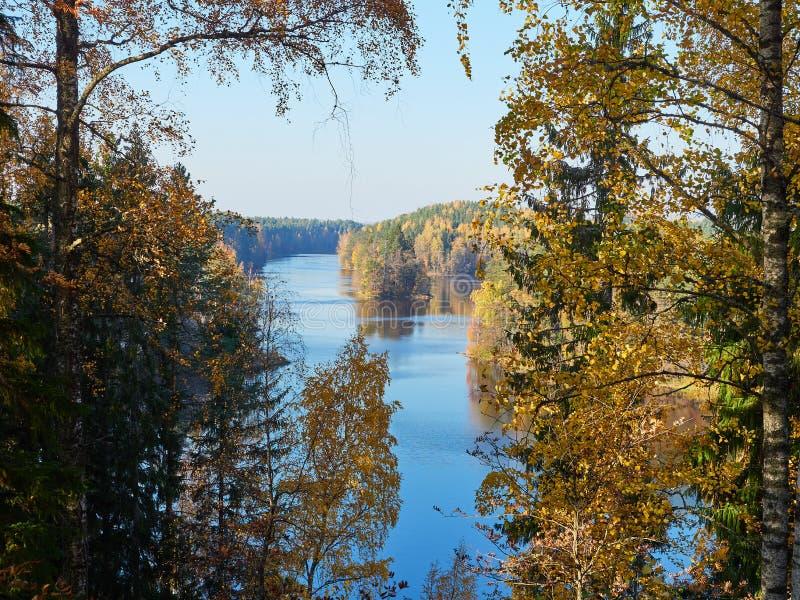 Τοπίο λιμνών φθινοπώρου με τα χρώματα πτώσης στο πάρκο φύσης στη Φινλανδία στοκ εικόνες