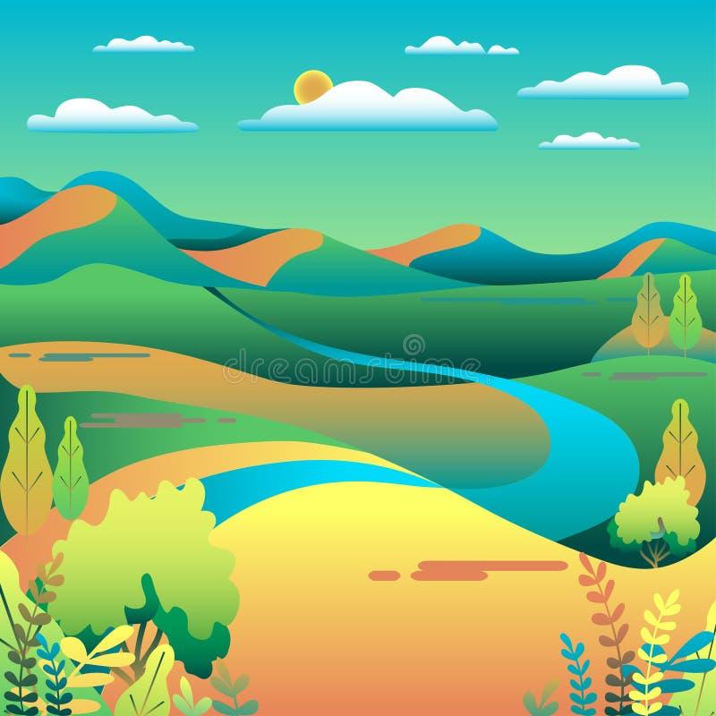 Τοπίο λόφων και βουνών στο επίπεδο σχέδιο ύφους Υπόβαθρο κοιλάδων Όμορφοι πράσινοι τομείς, λιβάδι, και μπλε ουρανός αγροτικός απεικόνιση αποθεμάτων