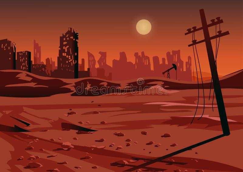 Τοπίο μετά από έναν πυρηνικό πόλεμο ή μια περιβαλλοντική καταστροφή, διανυσματική απεικόνιση ελεύθερη απεικόνιση δικαιώματος