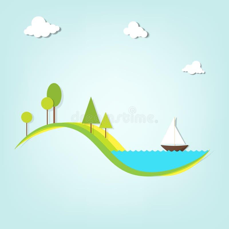Τοπίο με μια λίμνη, τα δέντρα, και το σκάφος ελεύθερη απεικόνιση δικαιώματος