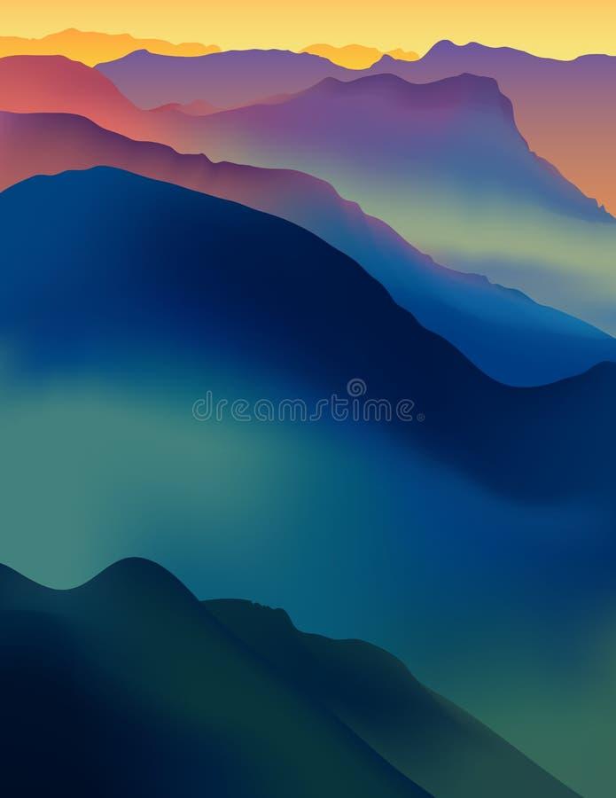 Τοπίο με τα ζωηρόχρωμα βουνά στο ηλιοβασίλεμα ή την αυγή διανυσματική απεικόνιση