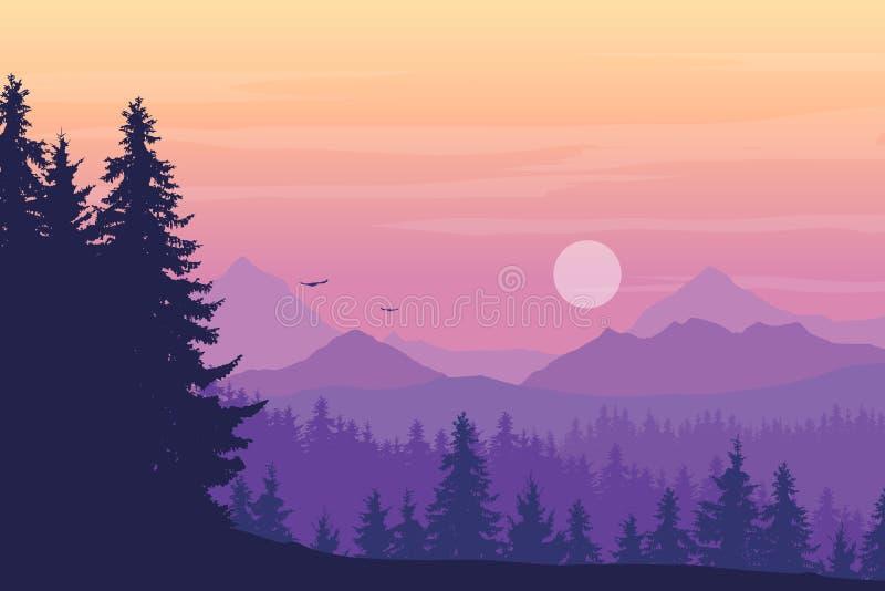 Τοπίο με τα υψηλά βουνά και κωνοφόρο δάσος στο πολλαπλάσιο απεικόνιση αποθεμάτων