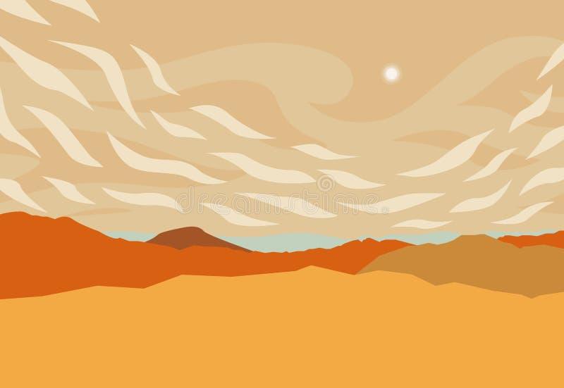 Τοπίο με την πανοραμική άποψη των κόκκινων λόφων και του ήλιου στο μεσημέρι επίσης corel σύρετε το διάνυσμα απεικόνισης απεικόνιση αποθεμάτων