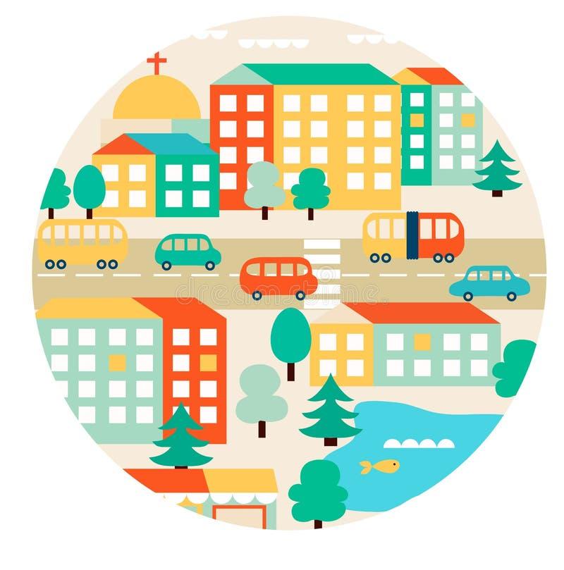 Τοπίο με τη μικρή πόλη ελεύθερη απεικόνιση δικαιώματος