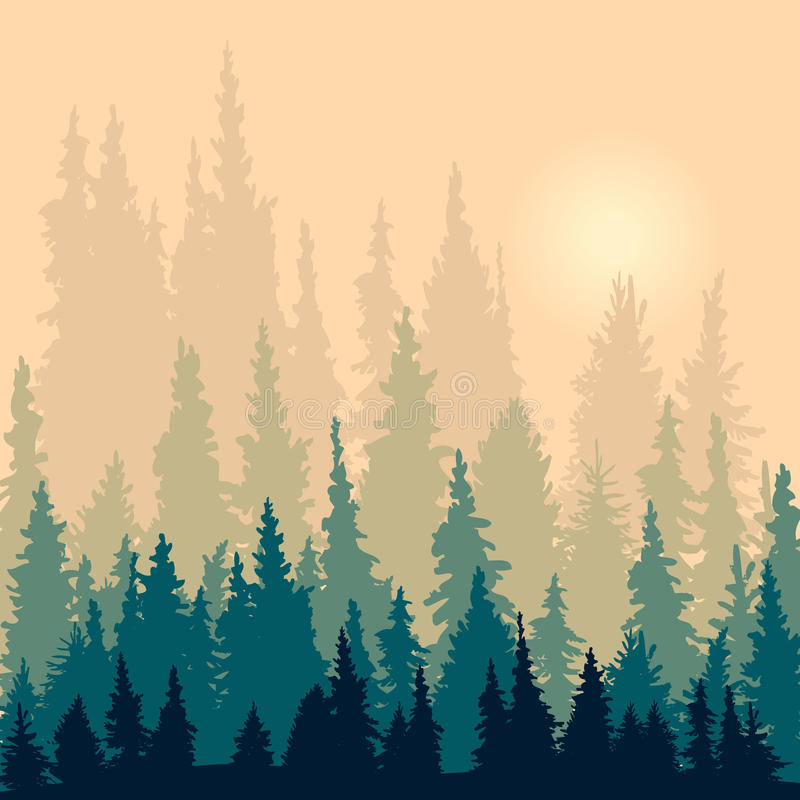 Τοπίο με τις σκιαγραφίες fir-trees απεικόνιση αποθεμάτων