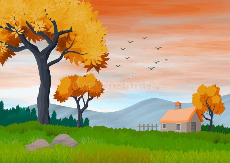Τοπίο με τον ουρανό με τα σύννεφα, τα βουνά, τα δέντρα και ένα μικρό εξοχικό σπίτι r απεικόνιση αποθεμάτων