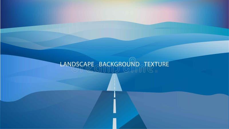 Τοπίο με τους λόφους και δρόμος ενάντια στο ηλιοβασίλεμα Διανυσματικό Illustratio απεικόνιση αποθεμάτων
