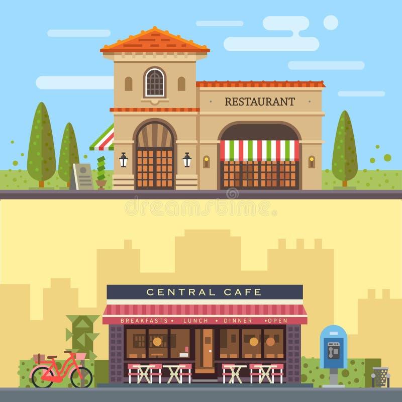 Τοπίο με το εστιατόριο και τον καφέ κτηρίων απεικόνιση αποθεμάτων