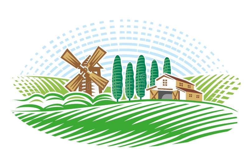 Τοπίο με το μύλο και το αγρόκτημα έκδοση ελεύθερη απεικόνιση δικαιώματος