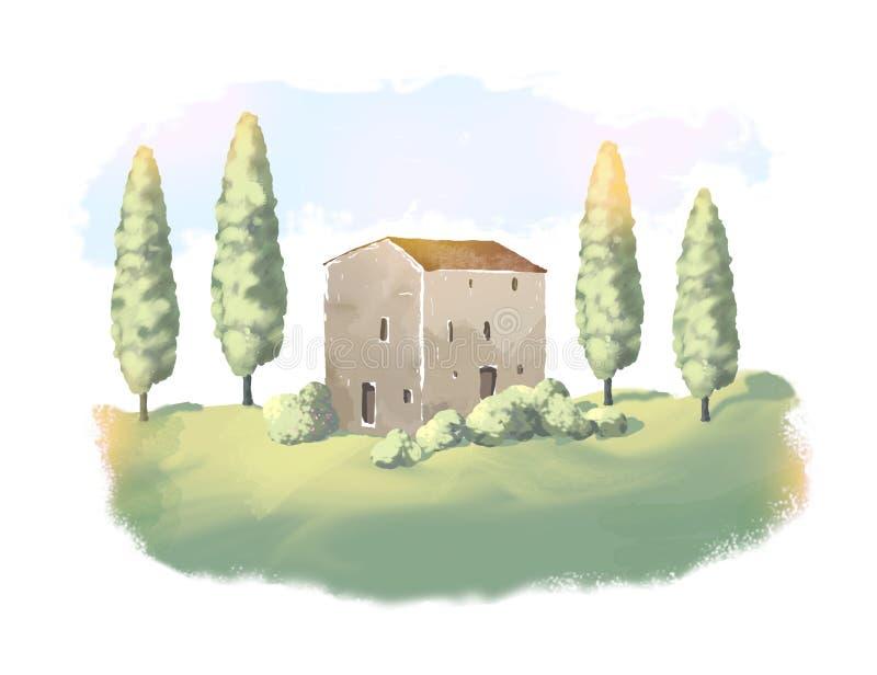 Τοπίο με το παραδοσιακό σπίτι στην Τοσκάνη, Ιταλία, χρωματισμένη απεικόνιση, καλλιτεχνική εργασία ελεύθερη απεικόνιση δικαιώματος