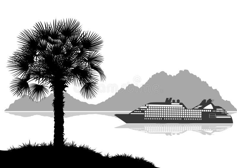 Τοπίο με το σκάφος, τους φοίνικες και τα βουνά απεικόνιση αποθεμάτων